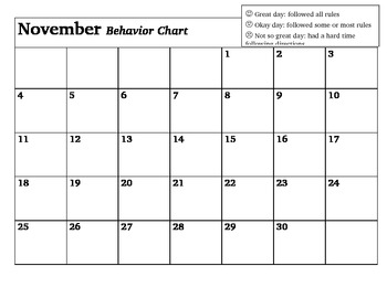 Behavior Chart (Monthly)