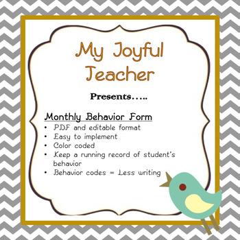 Behavior Chart - Monthly (editable)