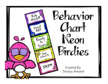 Behavior Chart - Neon Birds