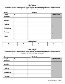 Behavior Chart - On Target