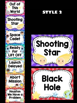 Behavior Chart -  Outer Space Astronauts Behavior Clip Chart