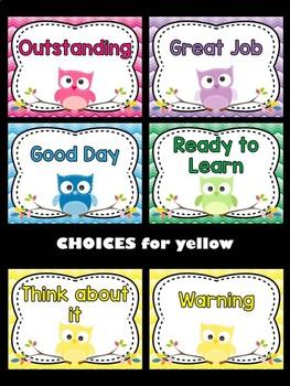 Behavior Chart - Owl Theme Behavior Clip Chart : Bright Ombre Chevron
