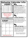 Behavior Chart Parent Info Page