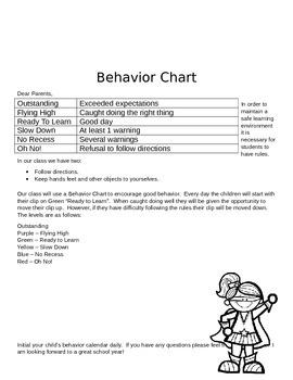 Behavior Chart Parent Letter Freebie