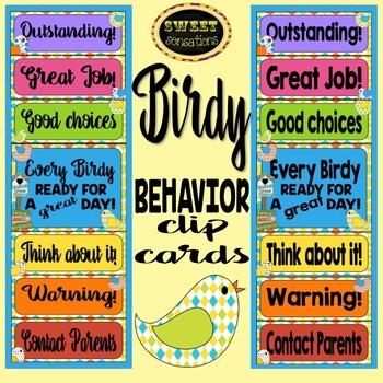 Behavior Chart - Peg Up/Peg Down (Bird Theme)