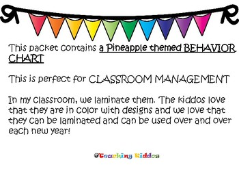 Behavior Chart - Pineapple / rainbow colored theme