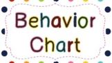 Behavior Chart Polka Dots Words Outlined