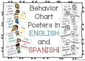 Behavior Chart Posters English & Spanish