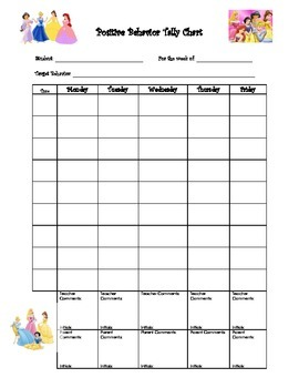 Behavior Chart - Princess Theme