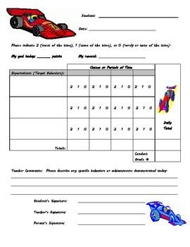 Behavior Chart - Race Car Theme