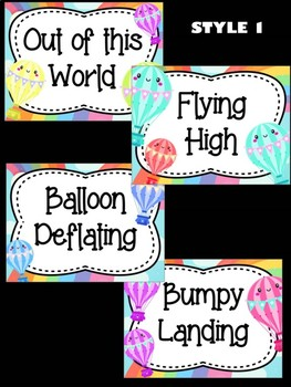 Behavior Chart -  Rainbow Hot Air Balloons Behavior Clip Chart