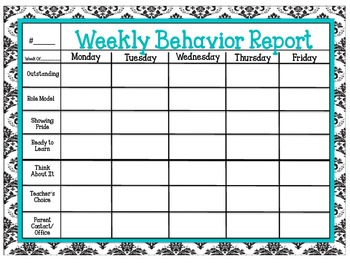 Behavior Chart Record (Damask)