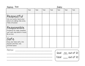 Behavior Chart (Responsible, Respectful, Safe)