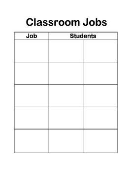 Classroom Jobs Class jobs chart Life skills classroom work chores