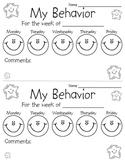 Behavior Chart Sheet