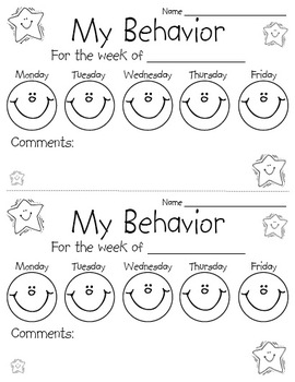 Behavior chart sheet by perfectly primary printables tpt for Behavior charts for preschoolers template