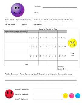Behavior Chart - Smiley Face Theme