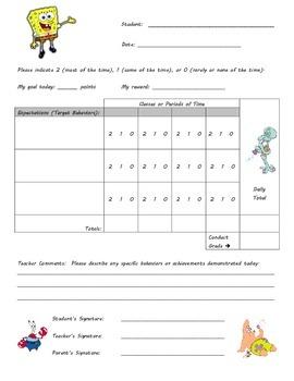Behavior Chart - Sponge Bob Theme