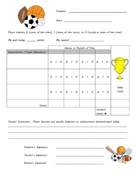 Behavior Chart -Sports Theme