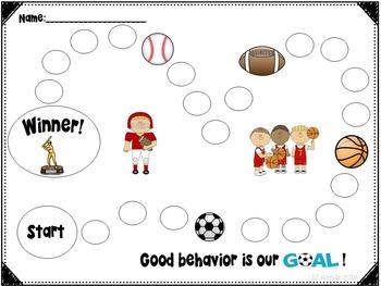 Individual Behavior Chart- Sports Theme