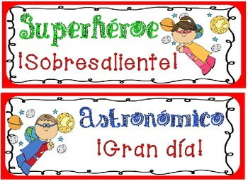 Behavior Chart: Superhero in Spanish