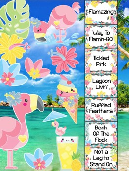 Behavior Chart -  Tropical Flamingos Behavior Clip Chart, Beach, Hawaii