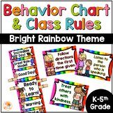 Behavior Chart and Classroom Rules | Bright  Colorful Rainbow Theme