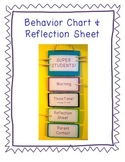 Behavior Chart and Reflection Sheet: Discipline Plan