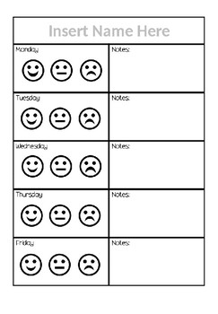 Behavior Chart and Take Home Notes