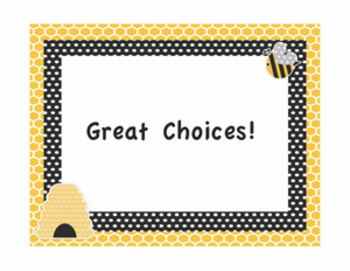 Behavior Chart and classroom signs - Bee Themed Editable!