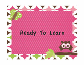 Behavior Chart and classroom signs - Owl Themed Editable!