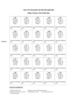 Behavior Chart for 6 weeks... Send home every night!