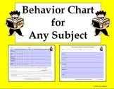Behavior Chart for All Subjects