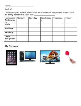 Behavior Chart for Homework
