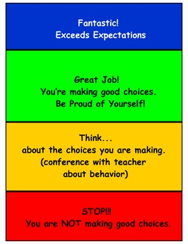 Behavior Chart for Lower Elementary and Kindergarten