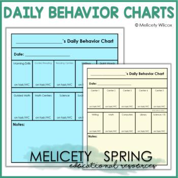 Behavior Chart for Students Time on Task, Work Completion Positive Behavior
