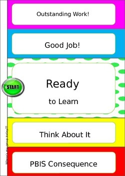 Behavior Chart for Students or Groups 5x7