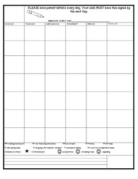 Behavior Chart for Upper Grades