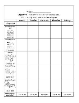 Behavior Chart for lower elementary
