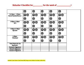 Behavior Chart for student with a BIP!