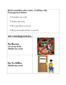 Behavior Chart with Consequences