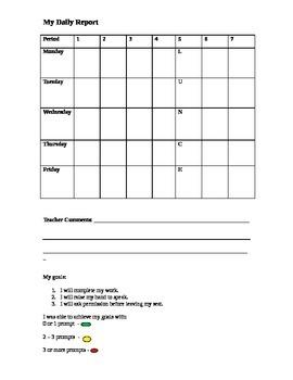 Behavior Chart with goals