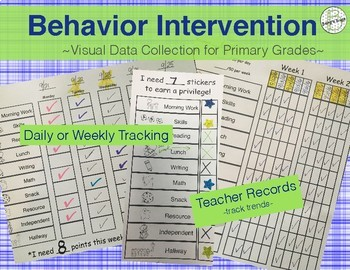 Behavior Chart Individual: Intervention Tracking System {Primary Level}