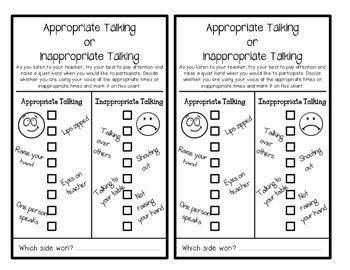 Behavior Charts (On-Task & Appropriate Talking)