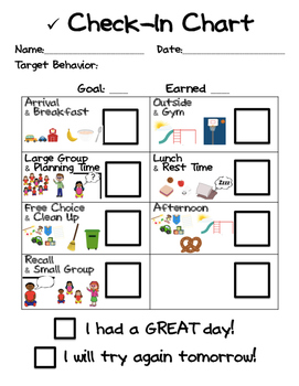 Behavior Check-In Chart - Preschool