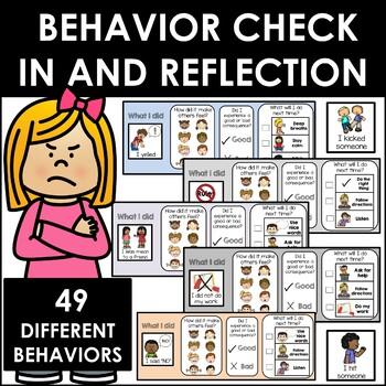 Behavior Check In and Reflection Slips. Autism Behavior Management.