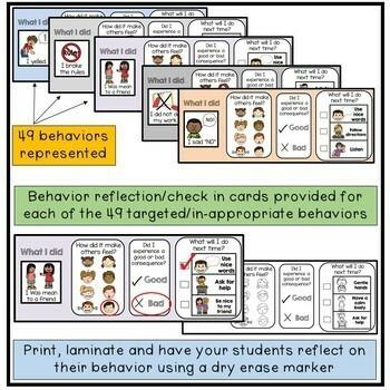 Autism Behaviors Do They Reflect >> Behavior Check In And Reflection Slips Autism Behavior Management