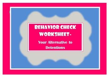 Behavior Check Worksheet