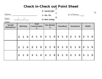 Behavior Checkin-Checkout sheet