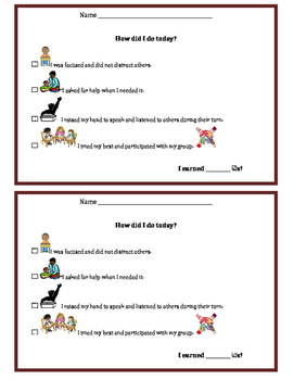 Behavior Checklist/Exit Slip